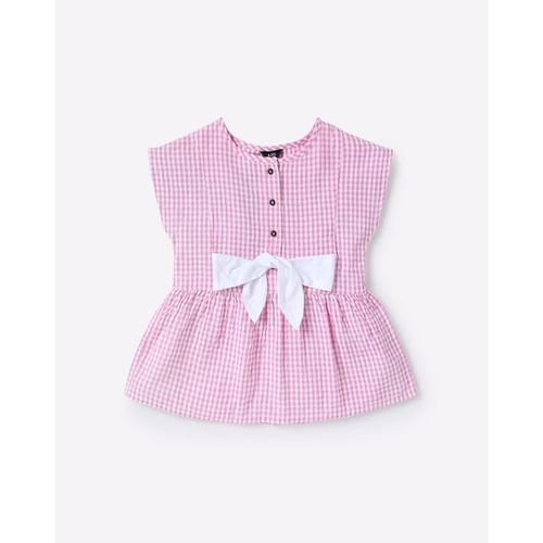 AJIO Checked Peplum Top with Bow Accent