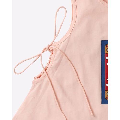 AJIO Graphic Print Sleeveless Top with Side Tie-Ups
