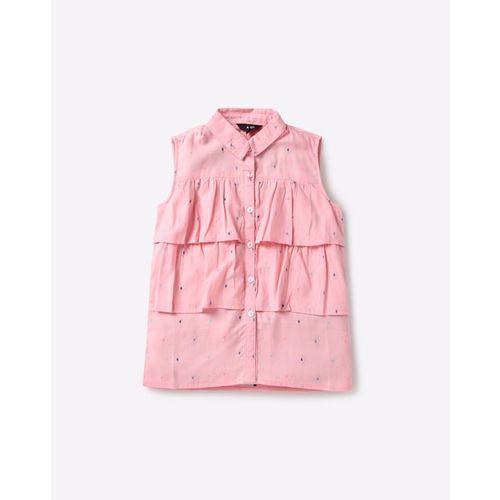 AJIO Ruffled Dobby Weave Shirt