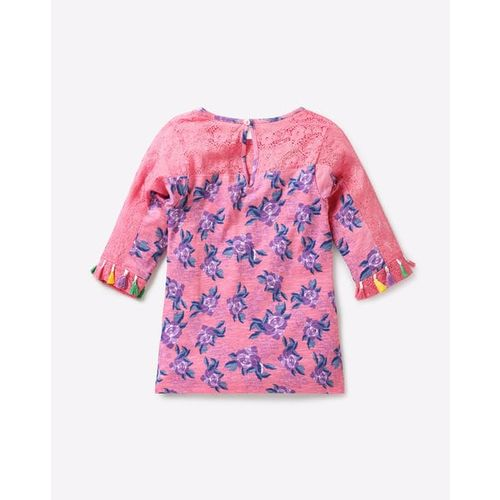 POINT COVE Floral Print Top with Lace Panel & Tassels