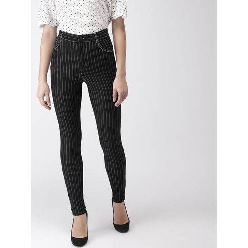 FOREVER 21 Women Black & White Tapered Fit Striped Regular Trousers