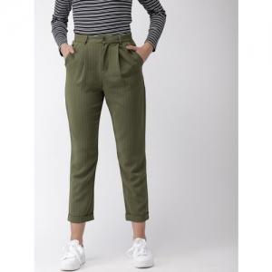 FOREVER 21 Women Olive Green Regular Fit Striped Peg Trousers