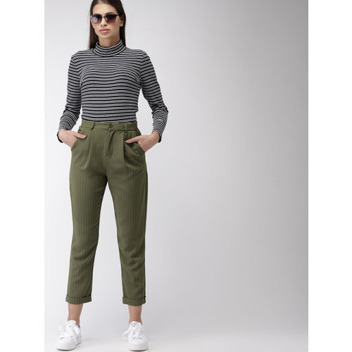 FOREVER 21 Women Olive Green Regular Fit Striped Peg Trousers