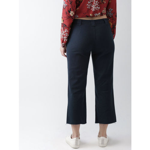 FOREVER 21 Women Navy Blue Regular Fit Solid Regular Trousers