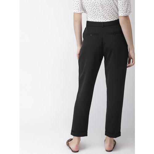 FOREVER 21 Women Black Regular Fit Solid Cropped Peg Trousers