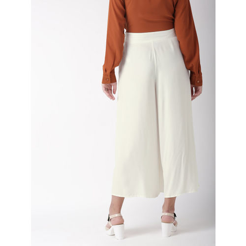 FOREVER 21 Women White Regular Fit Solid Culottes