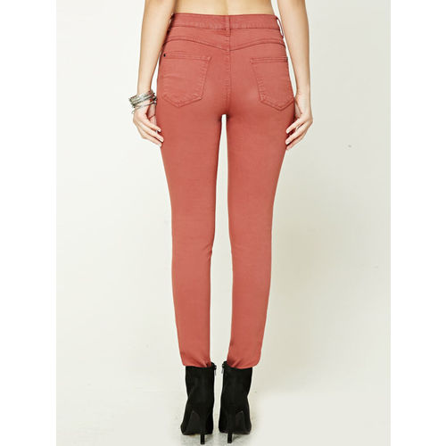 FOREVER 21 Women Rust Skinny Fit Solid Regular Trousers