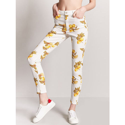 FOREVER 21 Women White & Yellow Skinny Fit Printed Regular Trousers