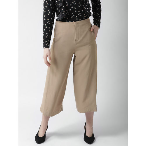 FOREVER 21 Women Khaki Regular Fit Solid Cropped Culottes