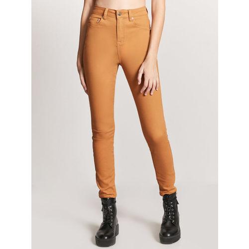 FOREVER 21 Women Orange Skinny Fit Solid Cigarette Trousers