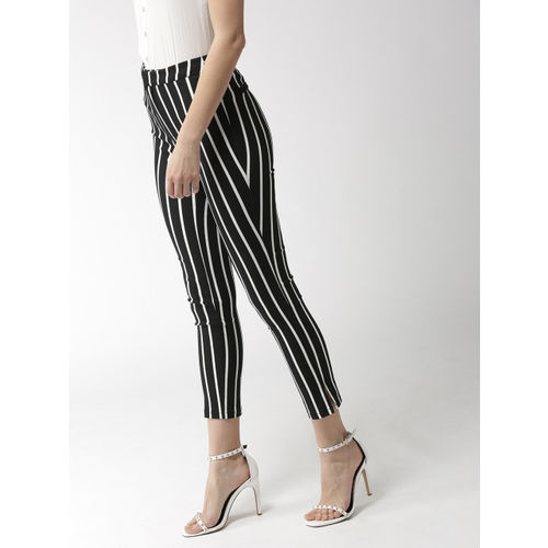 FOREVER 21 Women Black & White Striped Cropped Trousers
