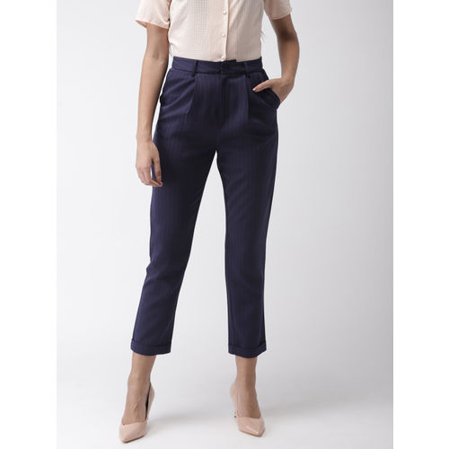 FOREVER 21 Women Navy Blue Regular Fit Striped Cropped Peg Trousers