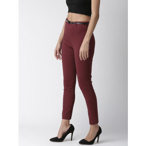 FOREVER 21 Women Burgundy Slim Fit Solid Regular Trousers