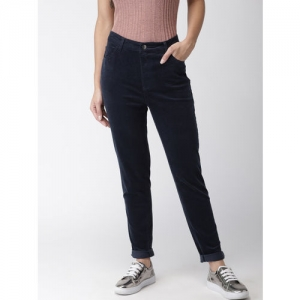 FOREVER 21 Women Navy Blue Regular Fit Solid Regular Trousers