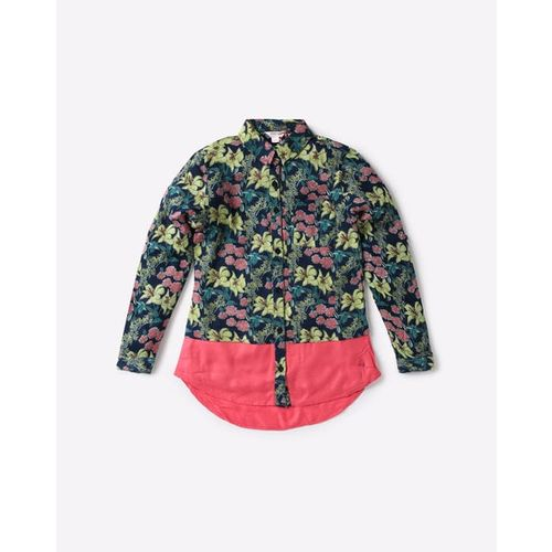 POINT COVE Floral Print Shirt with Patch Pocket