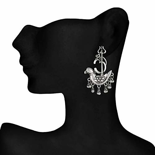 Darshini Designs Shiva Trishul With Parrot Inspired Earring For Women And Girls.