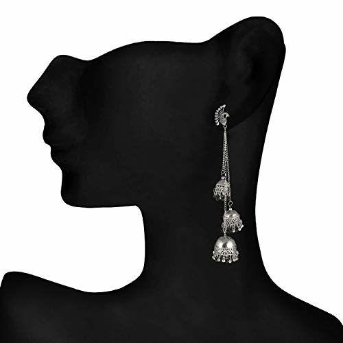 Darshini Designs Afghani Kashmiri Tribal Oxidized Dangle Long Earrings for Women and Girls