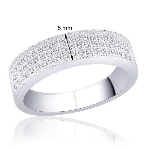 Peora Sterling Silver Rhodium 3 Row Micro Pave Set Cubic Zirconia Milgrain Band Ring