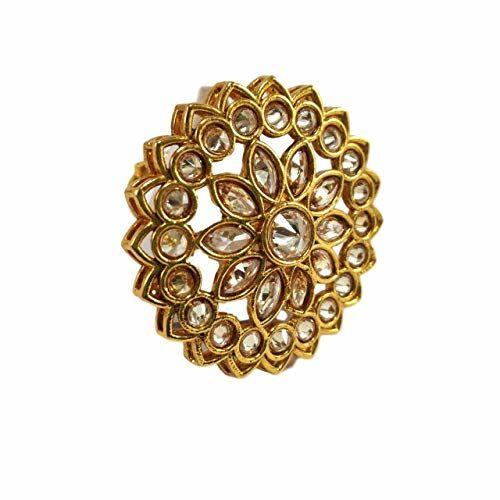 darshini designs Yellow Alloy Kundan Ring for Girls and Women