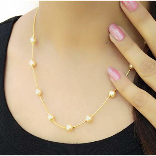 Darshini Designs Alloy Golden Matinee Traditional Gold Plated Necklace