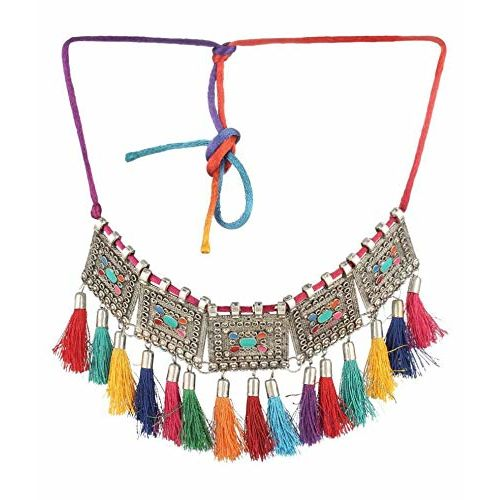 Darshini Designs Fashion Jewelry Multi Color Choker Boho Inspired Oxidised Necklace with Tassels for Girls and Women