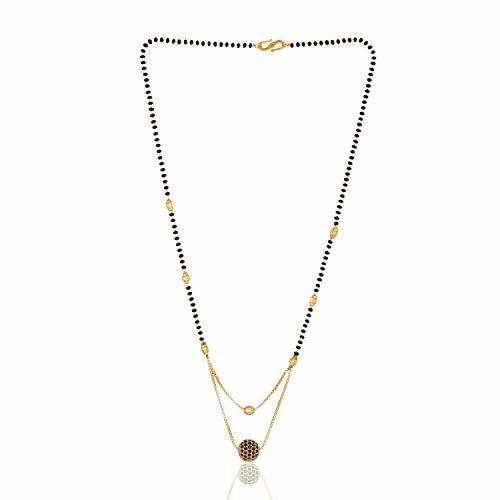 Darshini Designs Traditional Gold Plated & Black Beads Double Layer Mangalsutra for Women's