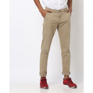 AJIO Slim Fit Mid-Rise Flat-Front Trousers