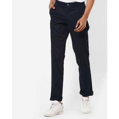 JOHN PLAYERS Slim Fit Flat Front Chinos