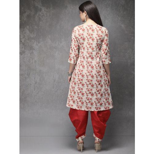 Anouk Women Off-White & Red Printed Kurta with Dhoti Pants