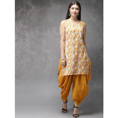 Anouk Women Mustard Yellow & Off-White Printed Kurta with Dhoti Pants