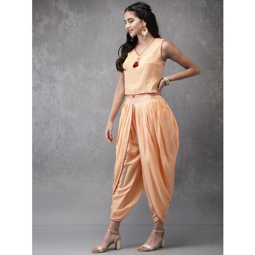 Anouk Orange Printed Top with Dhoti Pants & Jacket
