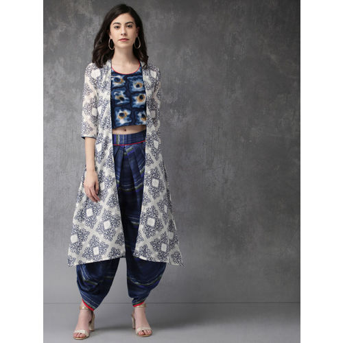 Anouk Women Blue & White Printed Top with Dhoti Pants & Jacket