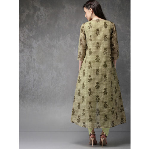 Anouk Women Green & Beige Solid Top with Dhoti Pants & Jacket