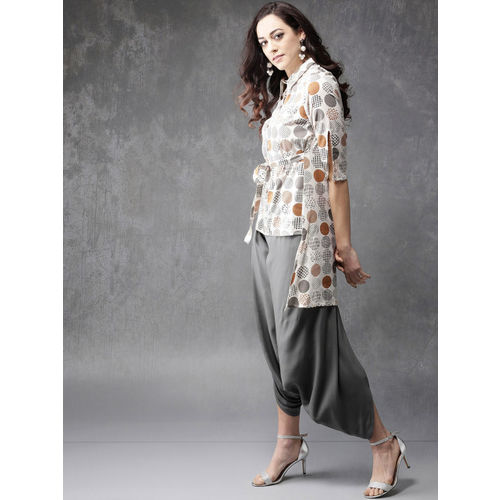Anouk Women Off-White & Grey Printed Tunic with Drop-Crotch Trousers
