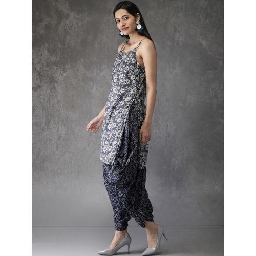 Anouk Women Navy Blue & Off-White Printed Kurta with Dhoti Pants