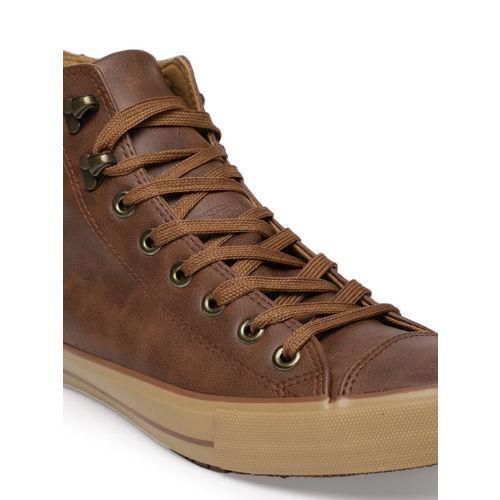 Flying Machine Men Tan Brown BRUTE Leather Mid-Top Sneakers