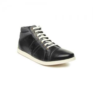 Franco Leone Men Black Leather Casual Shoes