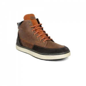 Geox Men Brown Colourblocked Leather Mid-Top Sneakers