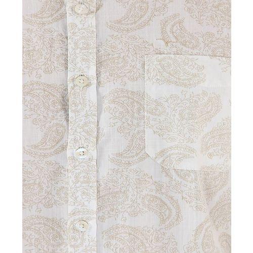Flying Machine White & Beige Printed Cotton Shirt