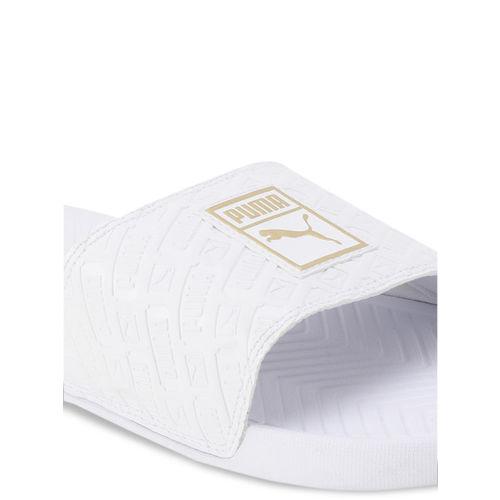 Puma Unisex White Printed Sliders