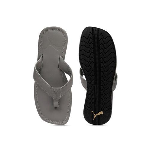 Puma Men Grey Printed Stan 2 IDP Elephant Skin-Puma Black Thong Flip-Flops