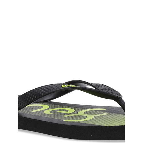 Puma Unisex Black & Green Printed Thong Flip-Flops