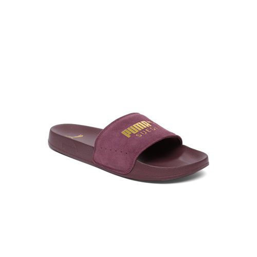 Puma Unisex Burgundy Leadcat Suede Printed Team Go Sliders