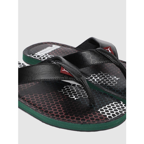 Puma Men Black Wink Duo Gu2 Idp Solid Thong Flip-Flops