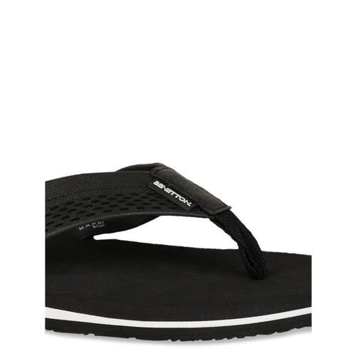 United Colors of Benetton Men Black Solid Thong Flip-Flops