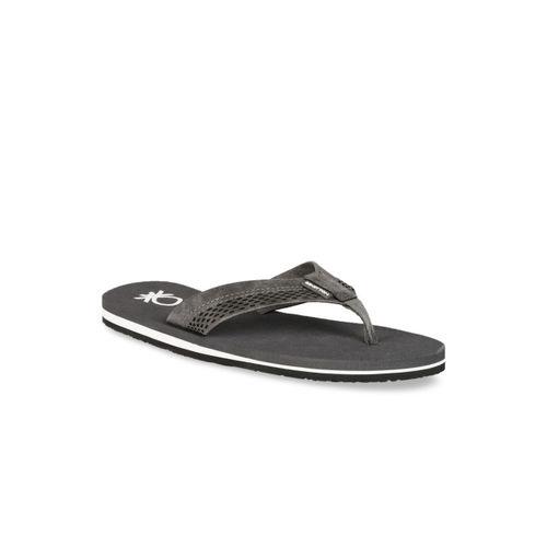 United Colors of Benetton Men Grey Solid Thong Flip-Flops