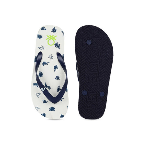 United Colors of Benetton Men White & Blue Printed Thong Flip-Flops