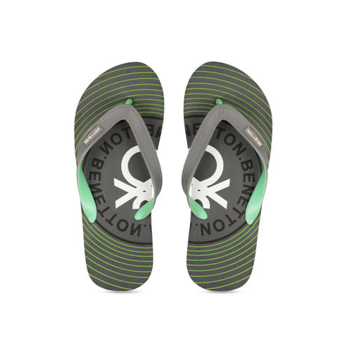 United Colors of Benetton Men Grey & Olive Green Printed Thong Flip-Flops