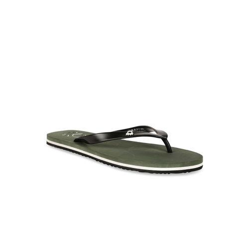 United Colors of Benetton Men Olive Green Printed Thong Flip-Flops