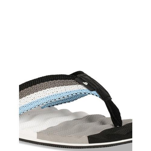 United Colors of Benetton Men Black & Grey Colourblocked Thong Flip-Flops